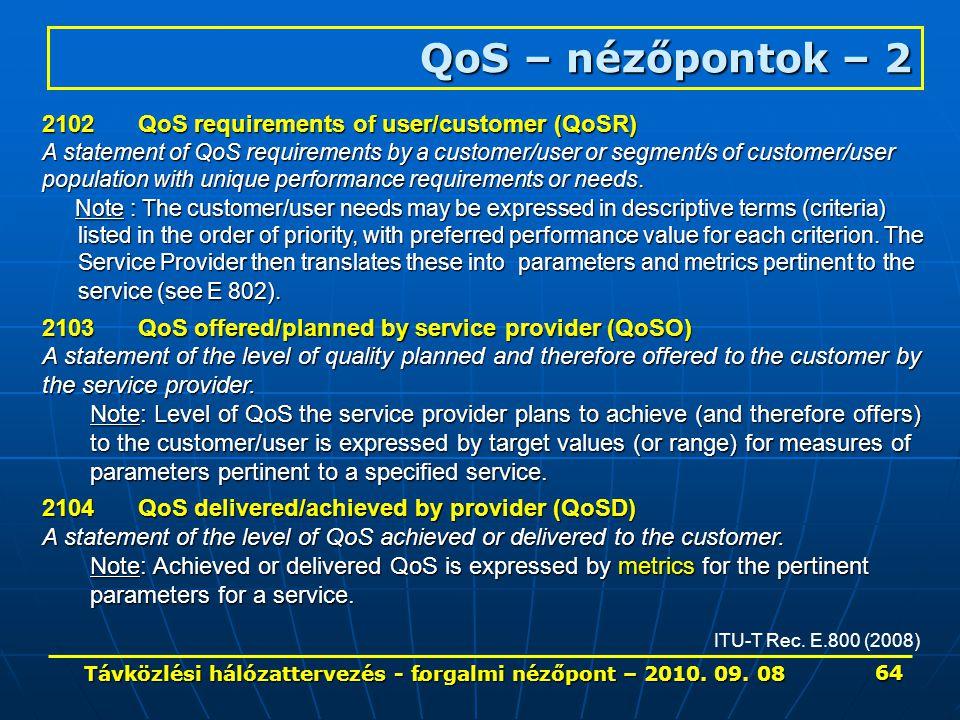 . QoS – nézőpontok – 2 ITU-T Rec. E.800 (2008) 2102QoS requirements of user/customer (QoSR) A statement of QoS requirements by a customer/user or segm