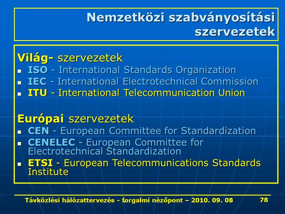 . Nemzetközi szabványosítási szervezetek Világ- szervezetek ISO - International Standards Organization ISO - International Standards Organization IEC