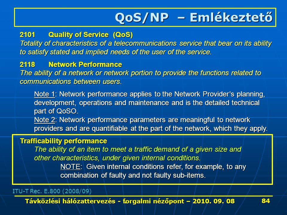 . QoS/NP – Emlékeztető ITU-T Rec. E.800 (2008/09) 2101Quality of Service (QoS) Totality of characteristics of a telecommunications service that bear o