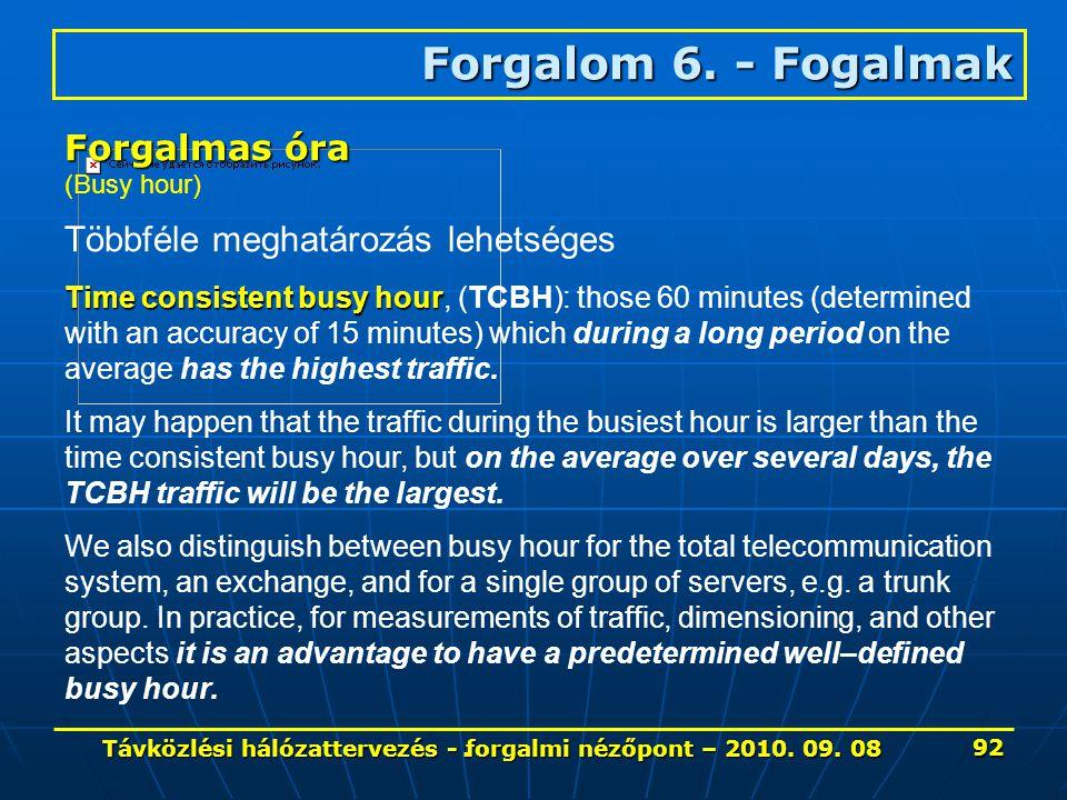 . Forgalom 6. - Fogalmak Forgalmas óra (Busy hour) Többféle meghatározás lehetséges Time consistent busy hour Time consistent busy hour, (TCBH): those