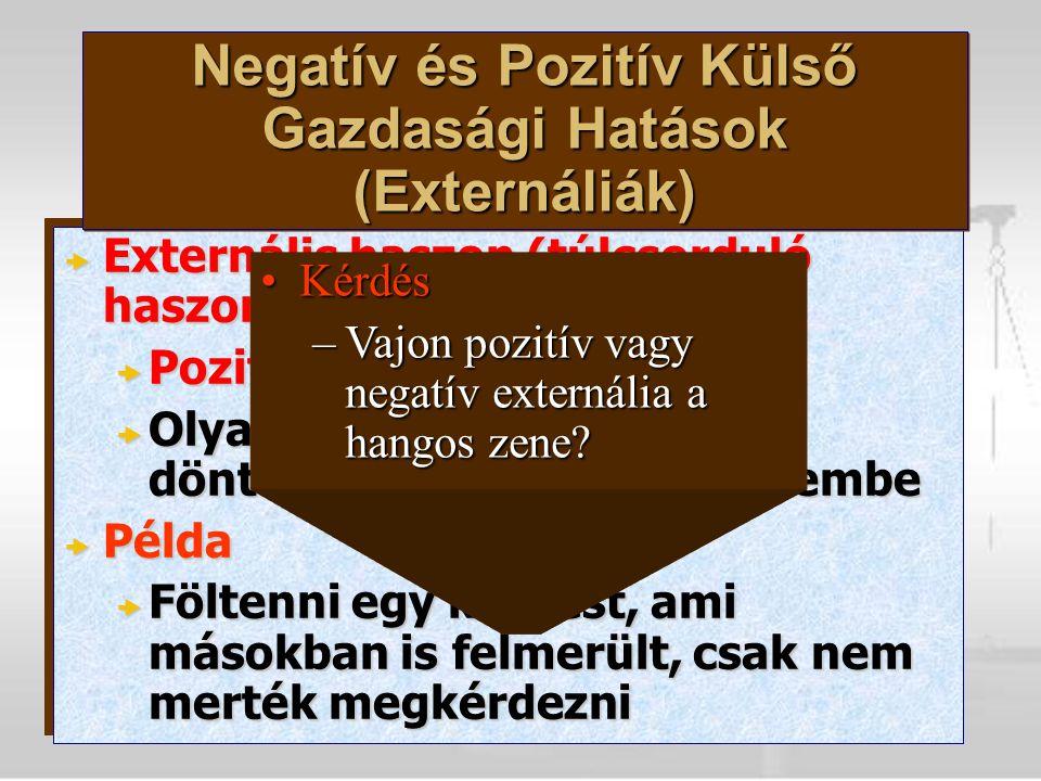  Externális haszon (túlcsorduló haszon)  Pozitív externália  Olyan hasznok, amelyeket a döntéshozó nem vesz figyelembe  Példa  Föltenni egy kérdést, ami másokban is felmerült, csak nem merték megkérdezni  Externális haszon (túlcsorduló haszon)  Pozitív externália  Olyan hasznok, amelyeket a döntéshozó nem vesz figyelembe  Példa  Föltenni egy kérdést, ami másokban is felmerült, csak nem merték megkérdezni KérdésKérdés –Vajon pozitív vagy negatív externália a hangos zene