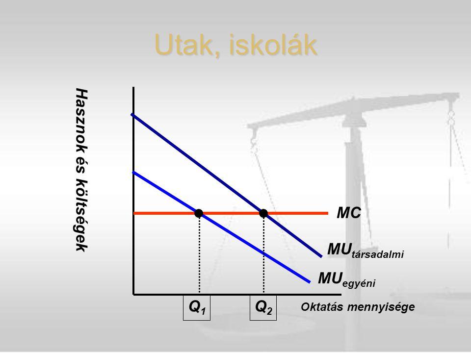 Hasznok és költségek Oktatás mennyisége MC MU egyéni MU társadalmi Q1Q1 Q2Q2