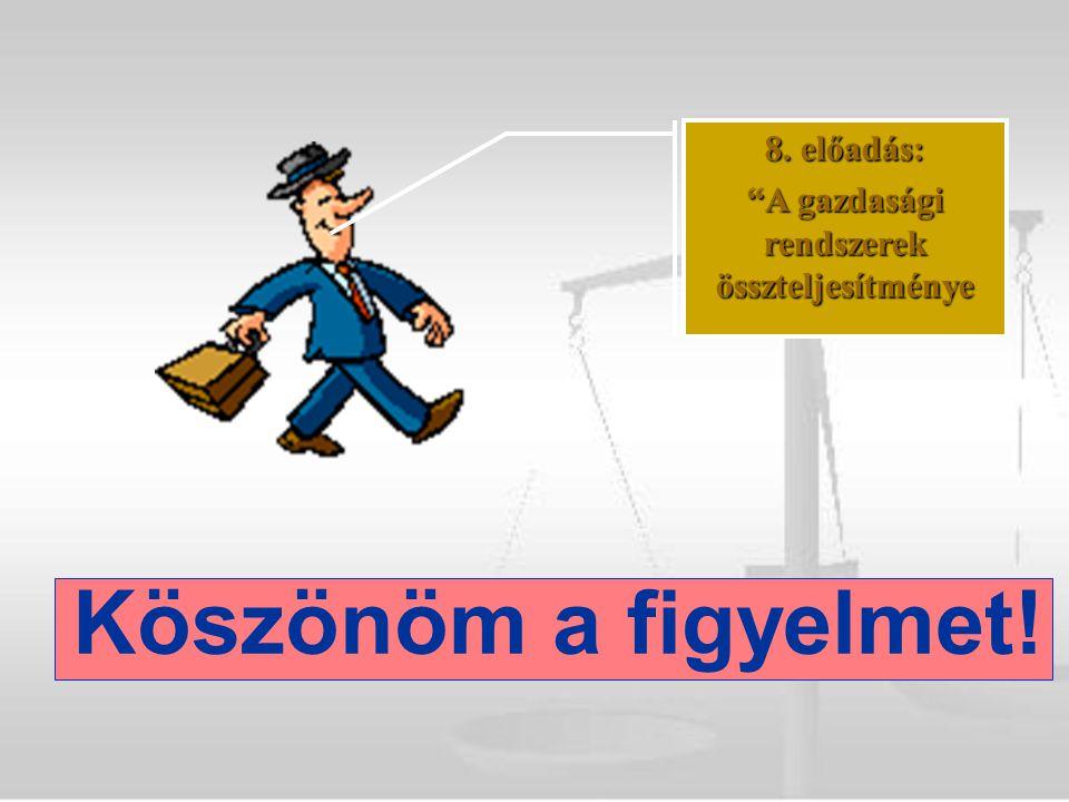 Köszönöm a figyelmet! 8. előadás: A gazdasági rendszerek összteljesítménye