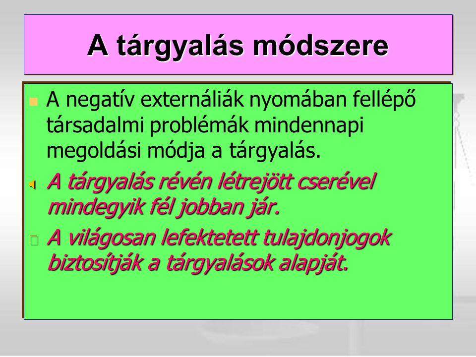 A negatív externáliák nyomában fellépő társadalmi problémák mindennapi megoldási módja a tárgyalás.