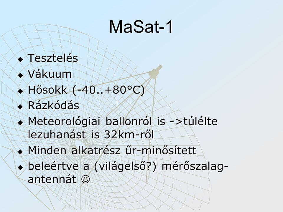 MaSat-1  Tesztelés  Vákuum  Hősokk (-40..+80°C)  Rázkódás  Meteorológiai ballonról is ->túlélte lezuhanást is 32km-ről  Minden alkatrész űr-minő