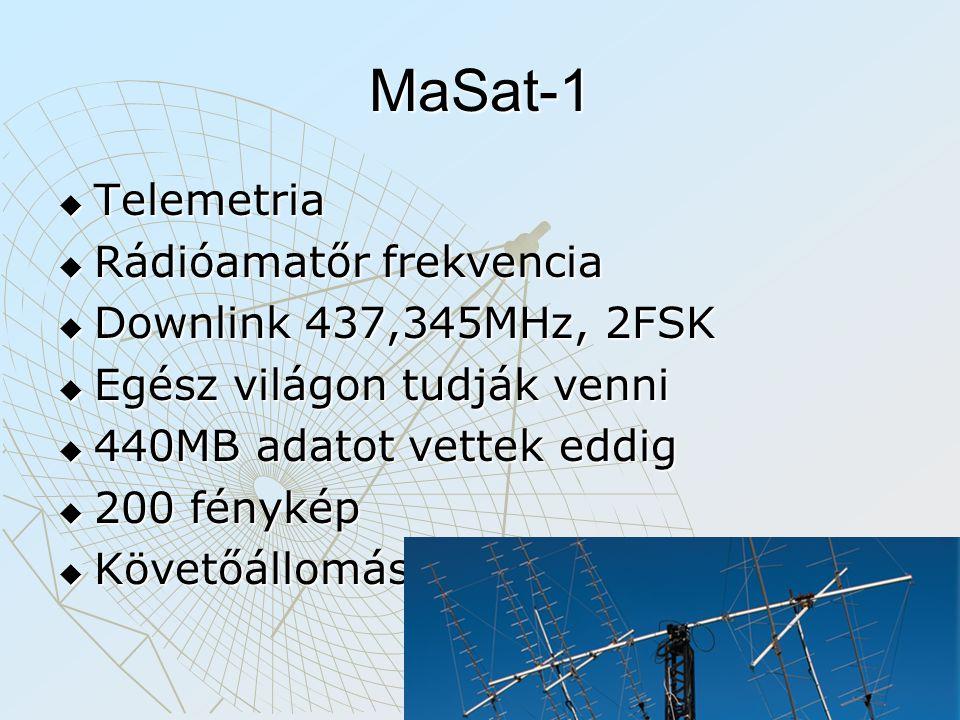 MaSat-1  Telemetria  Rádióamatőr frekvencia  Downlink 437,345MHz, 2FSK  Egész világon tudják venni  440MB adatot vettek eddig  200 fénykép  Köv