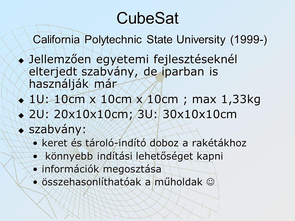 CubeSat California Polytechnic State University (1999-)  Jellemzően egyetemi fejlesztéseknél elterjedt szabvány, de iparban is használják már  1U: 1