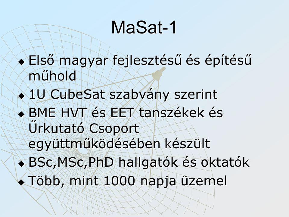 MaSat-1  Első magyar fejlesztésű és építésű műhold  1U CubeSat szabvány szerint  BME HVT és EET tanszékek és Űrkutató Csoport együttműködésében kés