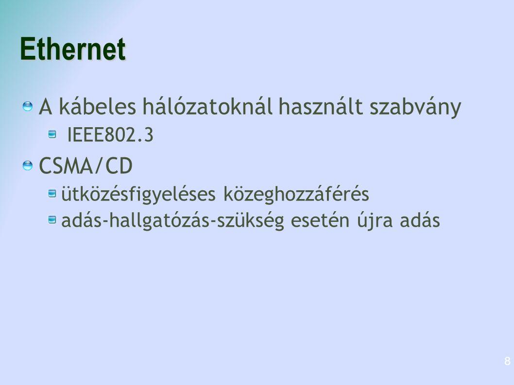 Hálózati eszközök Switch (Kapcsoló) 4,8,16,24 portos Tudja, hogy melyik lábán ki van, csak a címzetthez továbbítja az adatot