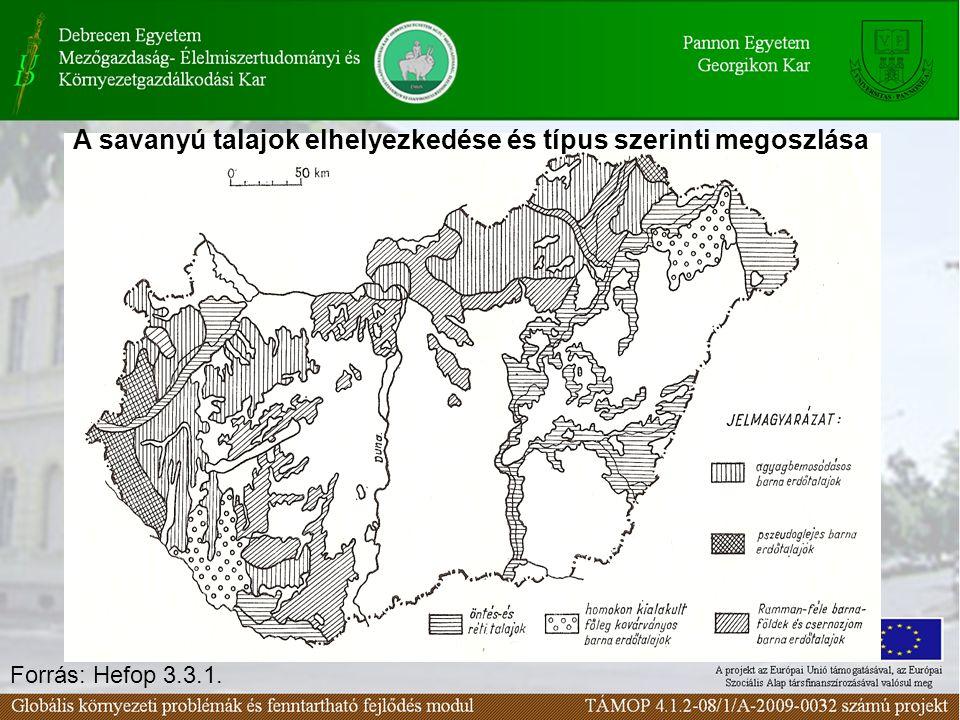 A savanyú talajok elhelyezkedése és típus szerinti megoszlása Forrás: Hefop 3.3.1.
