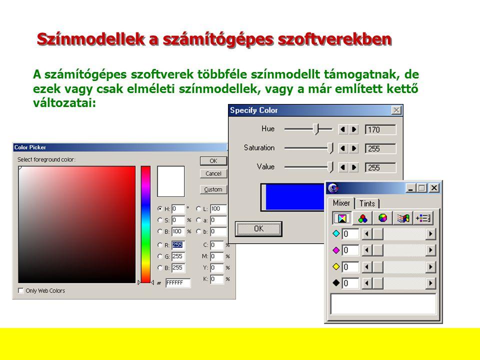Színmodellek a számítógépes szoftverekben A számítógépes szoftverek többféle színmodellt támogatnak, de ezek vagy csak elméleti színmodellek, vagy a már említett kettő változatai: