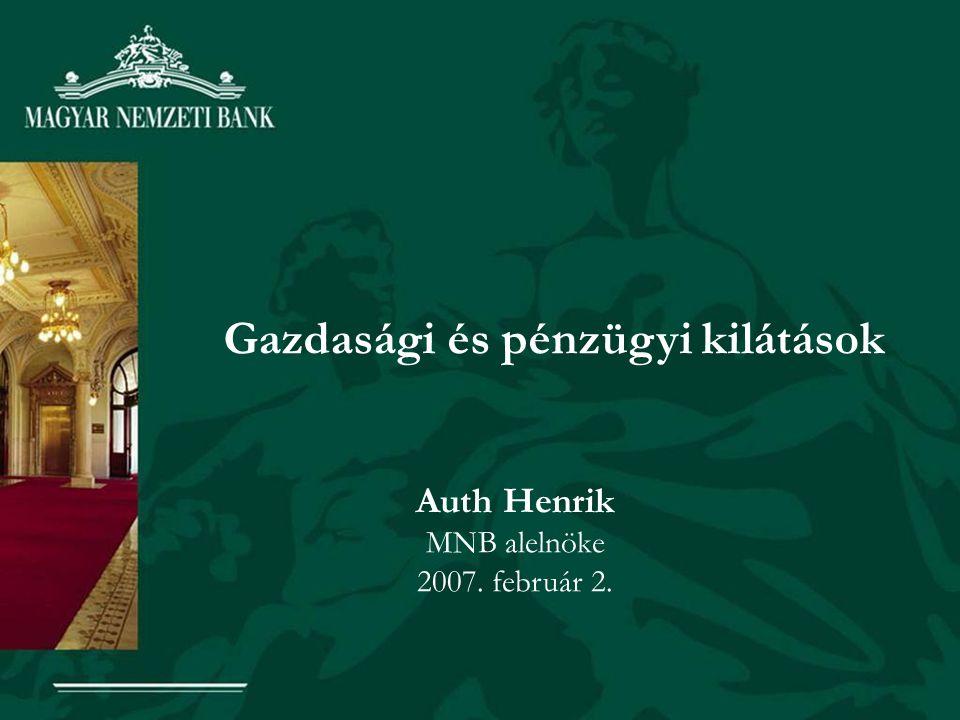 Gazdasági és pénzügyi kilátások Auth Henrik MNB alelnöke 2007. február 2.