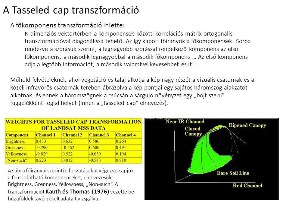A Tasseled cap transzformáció A főkomponens transzformáció ihlette: N dimenziós vektortérben a komponensek közötti korrelációs mátrix ortogonális transzformációval diagonálissá tehető.