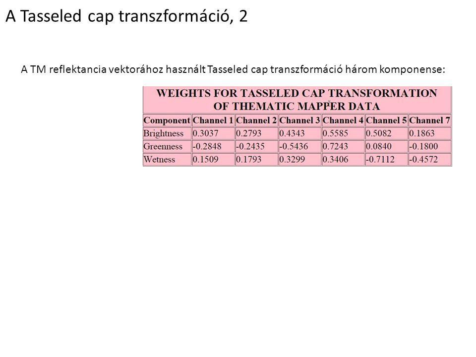 A Tasseled cap transzformáció, 2 A TM reflektancia vektorához használt Tasseled cap transzformáció három komponense:
