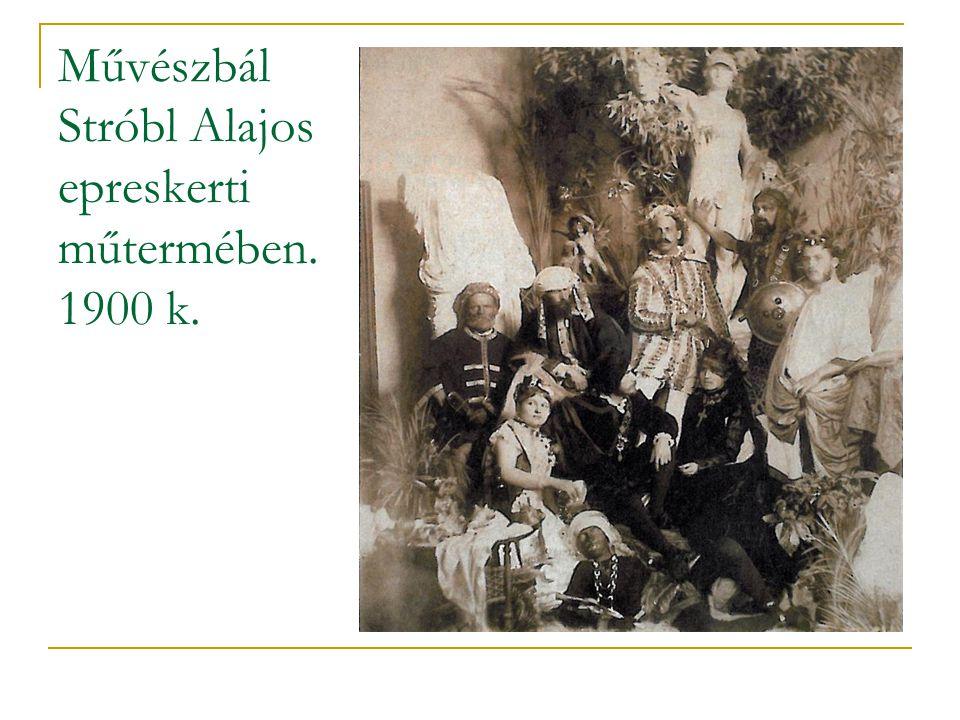 Művészbál Stróbl Alajos epreskerti műtermében. 1900 k.
