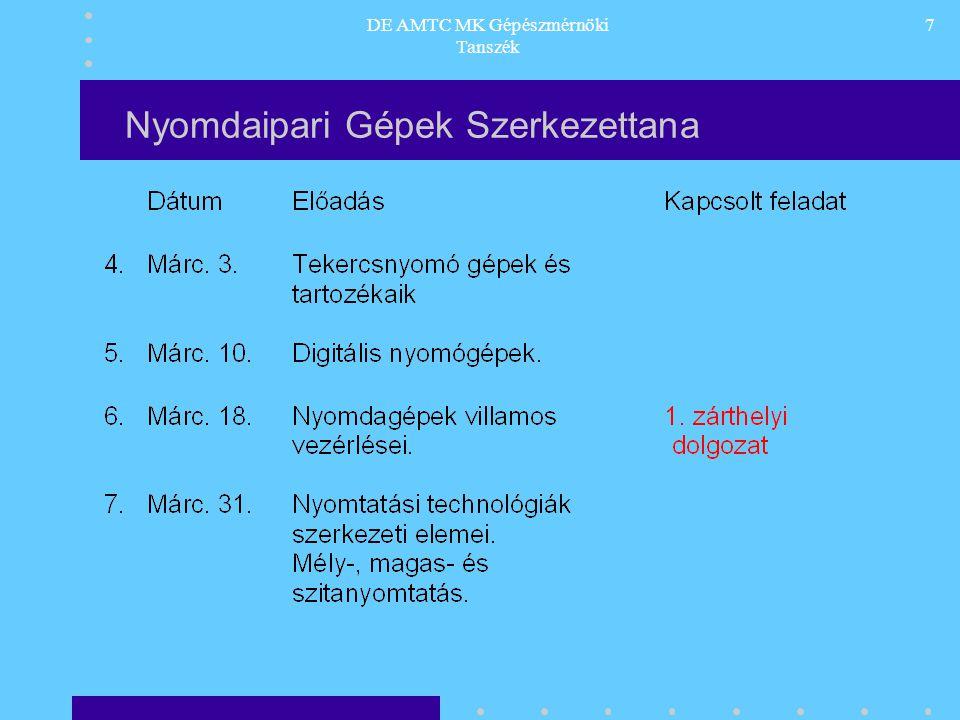DE AMTC MK Gépészmérnöki Tanszék 7 Nyomdaipari Gépek Szerkezettana