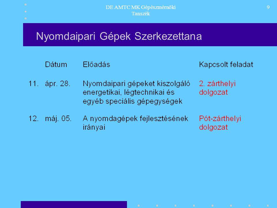 DE AMTC MK Gépészmérnöki Tanszék 10 Nyomdaipari Gépek Szerkezettana Ajánlott irodalom: 1.Dr.