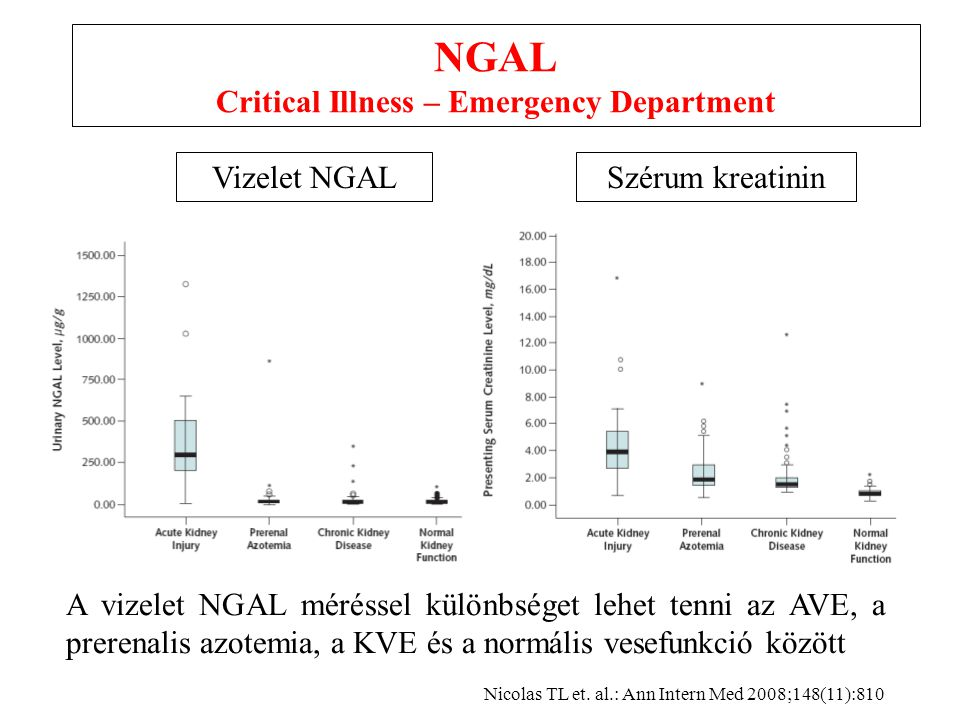 NGAL Critical Illness – Emergency Department Vizelet NGALSzérum kreatinin Nicolas TL et.