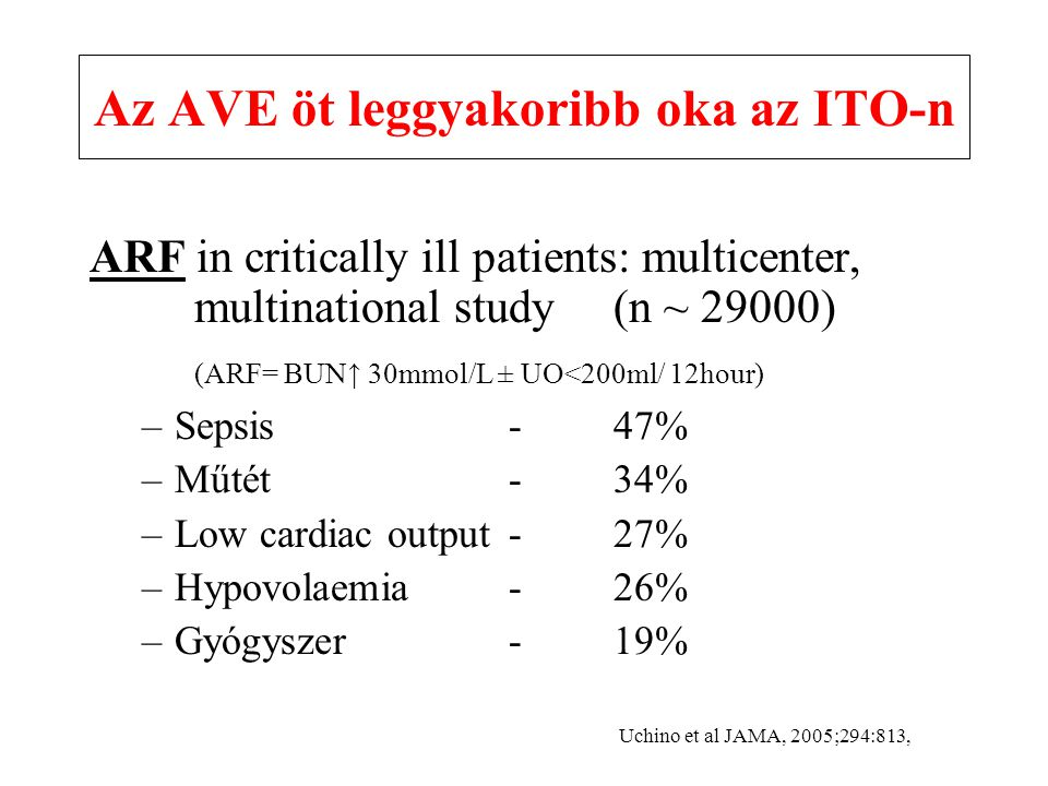 Az AVE öt leggyakoribb oka az ITO-n ARF in critically ill patients: multicenter, multinational study (n ~ 29000) (ARF= BUN↑ 30mmol/L ± UO<200ml/ 12hour) –Sepsis -47% –Műtét-34% –Low cardiac output-27% –Hypovolaemia-26% –Gyógyszer -19% Uchino et al JAMA, 2005;294:813,