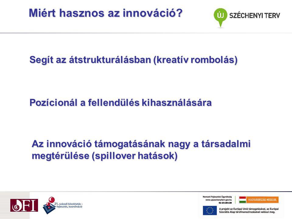 Segít az átstrukturálásban (kreatív rombolás) Pozícionál a fellendülés kihasználására Az innováció támogatásának nagy a társadalmi megtérülése (spillover hatások) Miért hasznos az innováció