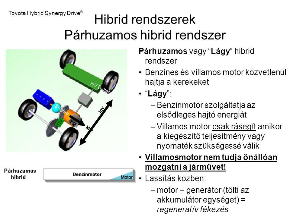 """Hibrid rendszerek Párhuzamos hibrid rendszer Párhuzamos vagy """"Lágy"""" hibrid rendszer Benzines és villamos motor közvetlenül hajtja a kerekeket """"Lágy"""":"""