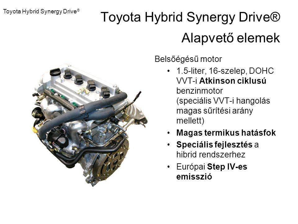 Toyota Hybrid Synergy Drive ® Belsőégésű motor 1.5-liter, 16-szelep, DOHC VVT-i Atkinson ciklusú benzinmotor (speciális VVT-i hangolás magas sűrítési