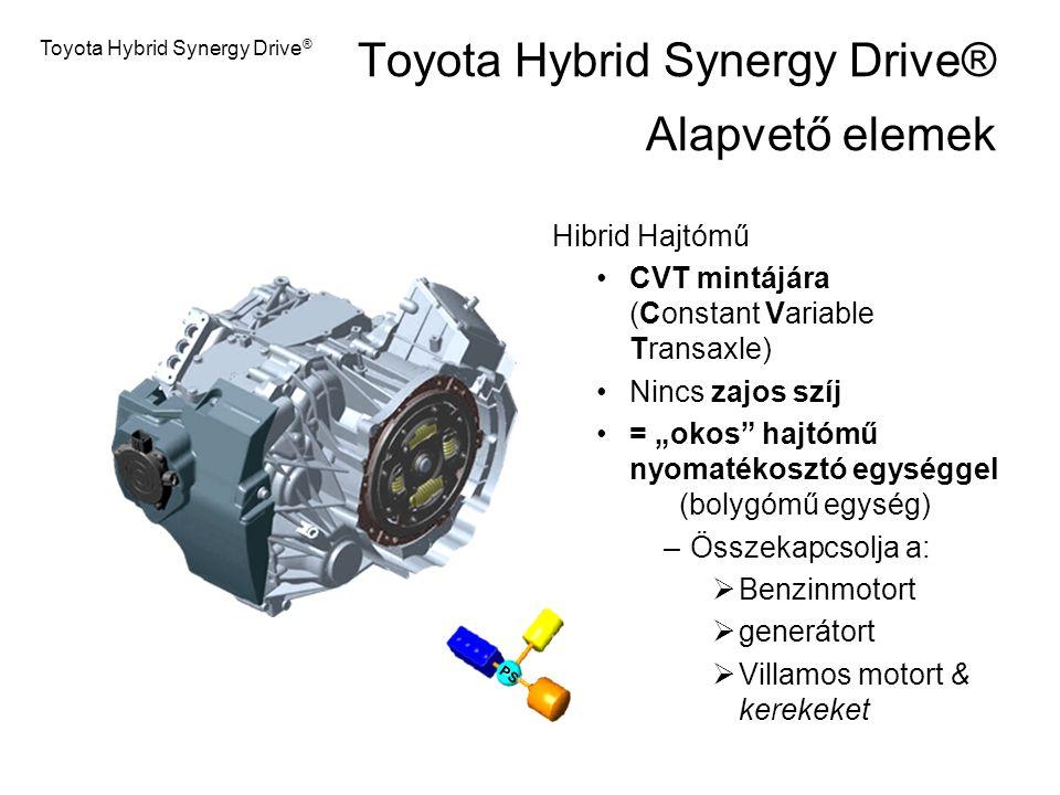"""Toyota Hybrid Synergy Drive ® Hibrid Hajtómű CVT mintájára (Constant Variable Transaxle) Nincs zajos szíj = """"okos"""" hajtómű nyomatékosztó egységgel (bo"""