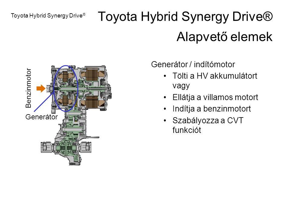 Generátor / indítómotor Tölti a HV akkumulátort vagy Ellátja a villamos motort Indítja a benzinmotort Szabályozza a CVT funkciót Generátor Toyota Hybr