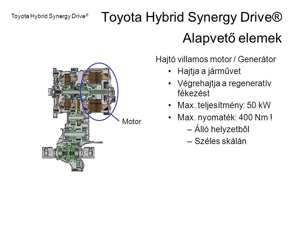 Motor Toyota Hybrid Synergy Drive ® Hajtó villamos motor / Generátor Hajtja a járművet Végrehajtja a regeneratív fékezést Max. teljesítmény: 50 kW Max