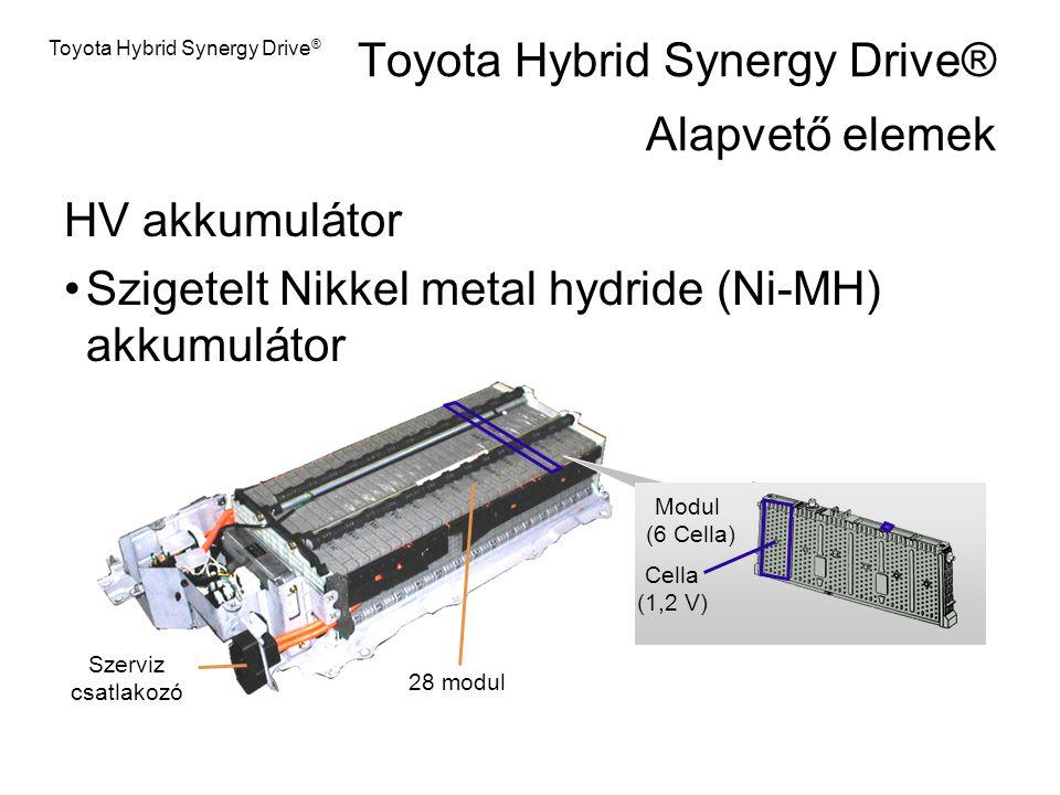 HV akkumulátor Szigetelt Nikkel metal hydride (Ni-MH) akkumulátor Szerviz csatlakozó 28 modul Modul (6 Cella) Cella (1,2 V) Toyota Hybrid Synergy Driv