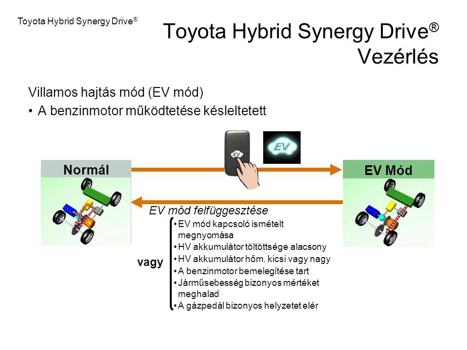 EV Mód Normál Toyota Hybrid Synergy Drive ® Vezérlés Villamos hajtás mód (EV mód) A benzinmotor működtetése késleltetett EV mód felfüggesztése EV mód