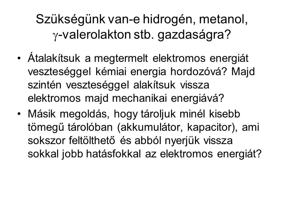 Szükségünk van-e hidrogén, metanol,  -valerolakton stb. gazdaságra? Átalakítsuk a megtermelt elektromos energiát veszteséggel kémiai energia hordozóv
