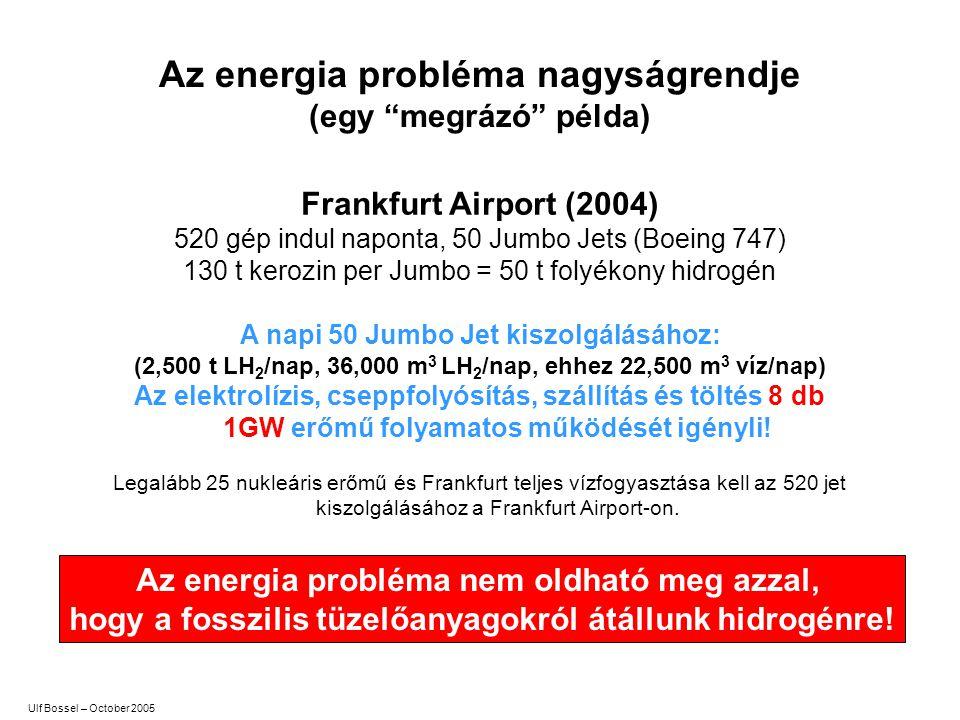 """Az energia probléma nagyságrendje (egy """"megrázó"""" példa) Frankfurt Airport (2004) 520 gép indul naponta, 50 Jumbo Jets (Boeing 747) 130 t kero zin per"""