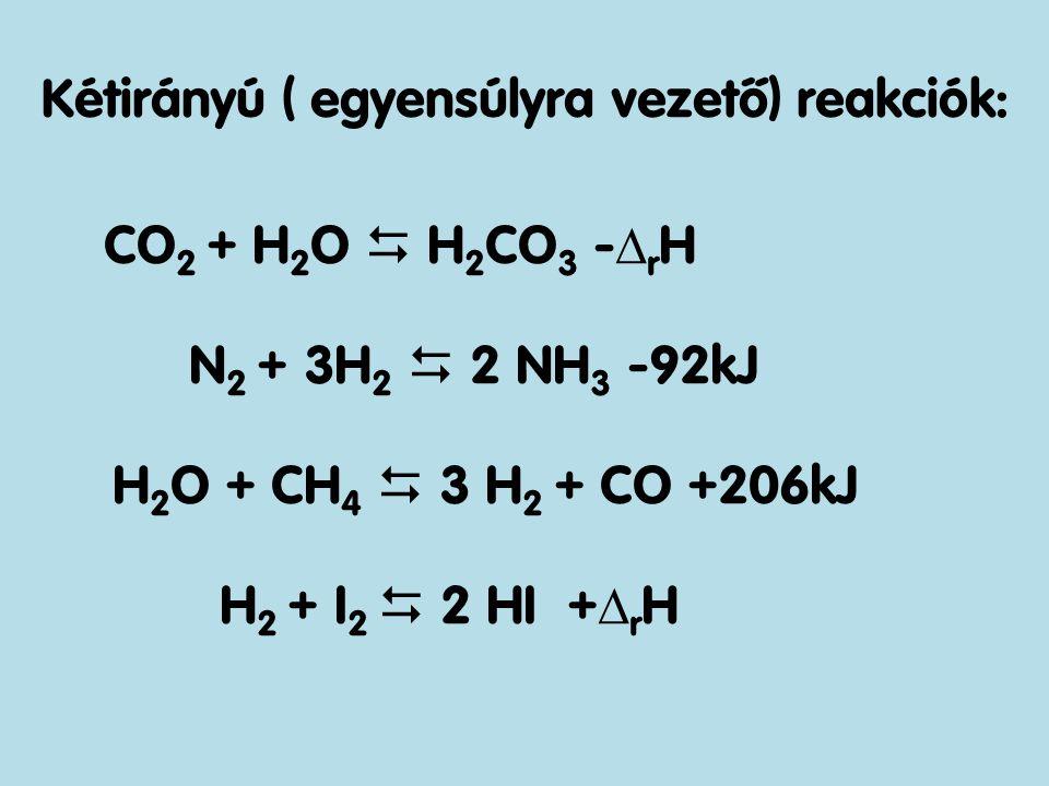Kétirányú ( egyensúlyra vezető) reakciók: CO 2 + H 2 O  H 2 CO 3 -  r H N 2 + 3H 2  2 NH 3 -92kJ H 2 O + CH 4  3 H 2 + CO +206kJ H 2 + I 2  2 HI