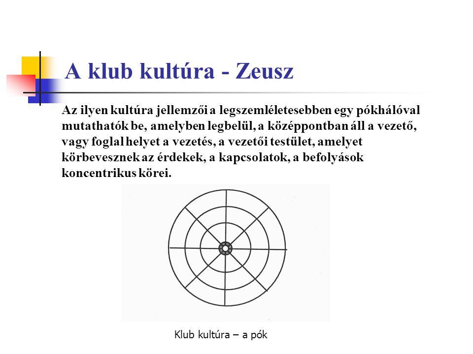 A klub kultúra - Zeusz Az ilyen kultúra jellemzői a legszemléletesebben egy pókhálóval mutathatók be, amelyben legbelül, a középpontban áll a vezető,