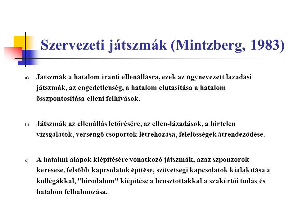 Szervezeti játszmák (Mintzberg, 1983) a) Játszmák a hatalom iránti ellenállásra, ezek az úgynevezett lázadási játszmák, az engedetlenség, a hatalom el