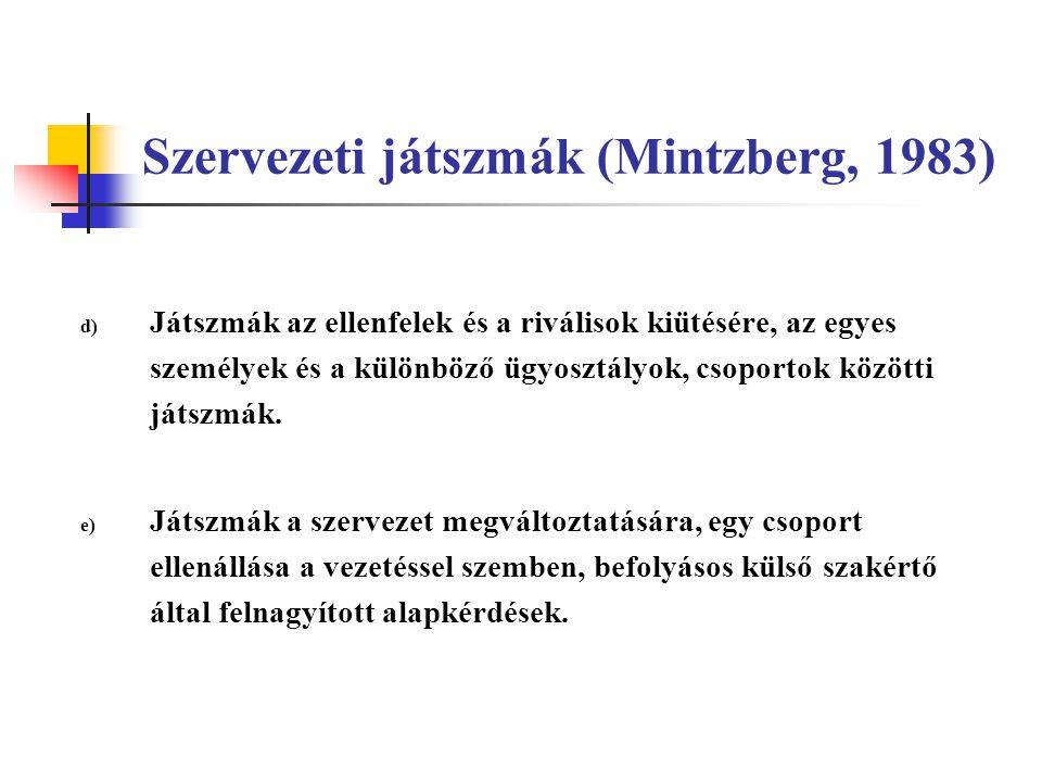 Szervezeti játszmák (Mintzberg, 1983) d) Játszmák az ellenfelek és a riválisok kiütésére, az egyes személyek és a különböző ügyosztályok, csoportok kö