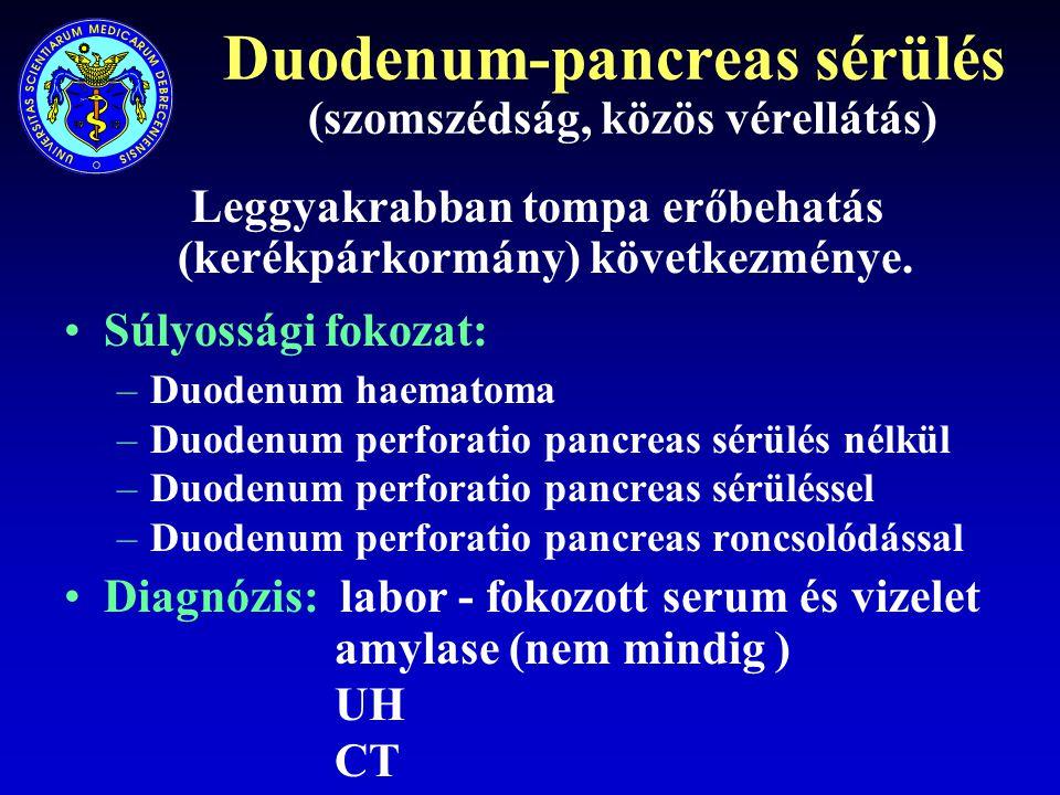Duodenum-pancreas sérülés (szomszédság, közös vérellátás) Leggyakrabban tompa erőbehatás (kerékpárkormány) következménye. Súlyossági fokozat: –Duodenu