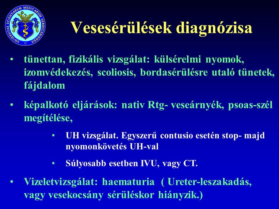 Vesesérülések diagnózisa tünettan, fizikális vizsgálat: külsérelmi nyomok, izomvédekezés, scoliosis, bordasérülésre utaló tünetek, fájdalom képalkotó