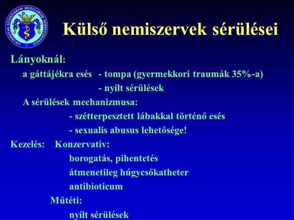Külső nemiszervek sérülései Lányoknál : a gáttájékra esés- tompa (gyermekkori traumák 35%-a) - nyílt sérülések A sérülések mechanizmusa: - szétterpesz