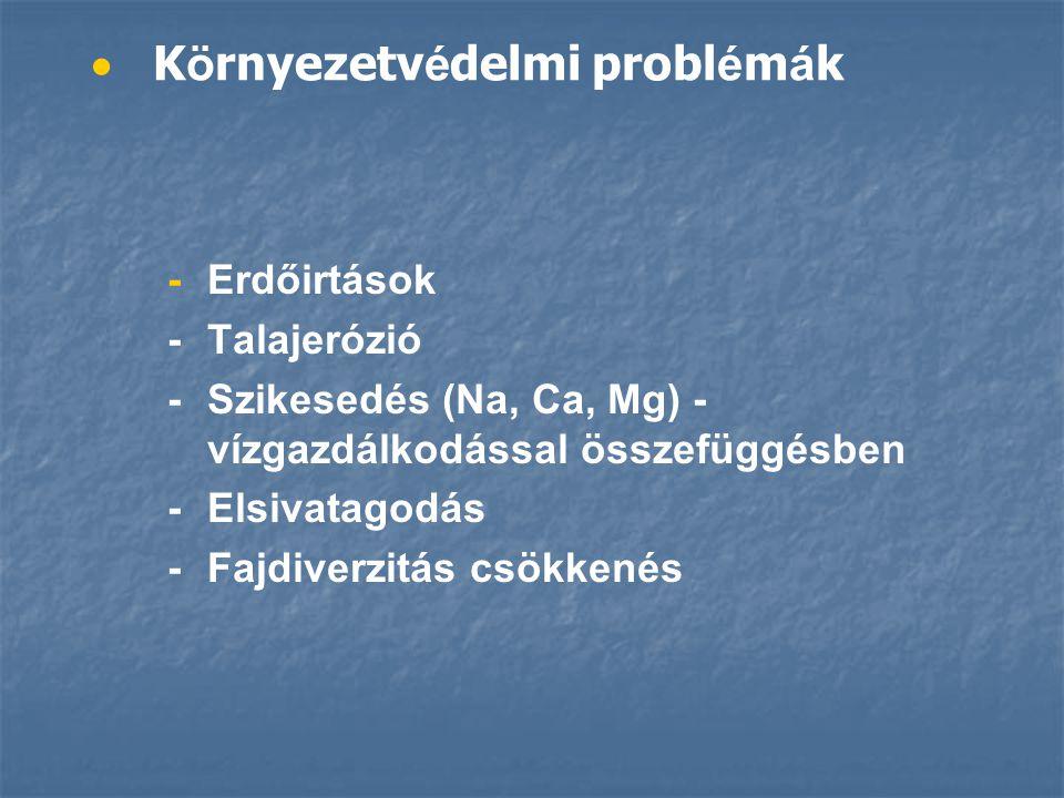   K ö rnyezetv é delmi probl é m á k -Erdőirtások -Talajerózió -Szikesedés (Na, Ca, Mg) - vízgazdálkodással összefüggésben -Elsivatagodás -Fajdiverzitás csökkenés