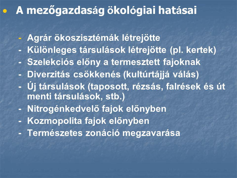   A mezőgazdas á g ö kol ó giai hat á sai -Agrár ökoszisztémák létrejötte -Különleges társulások létrejötte (pl.