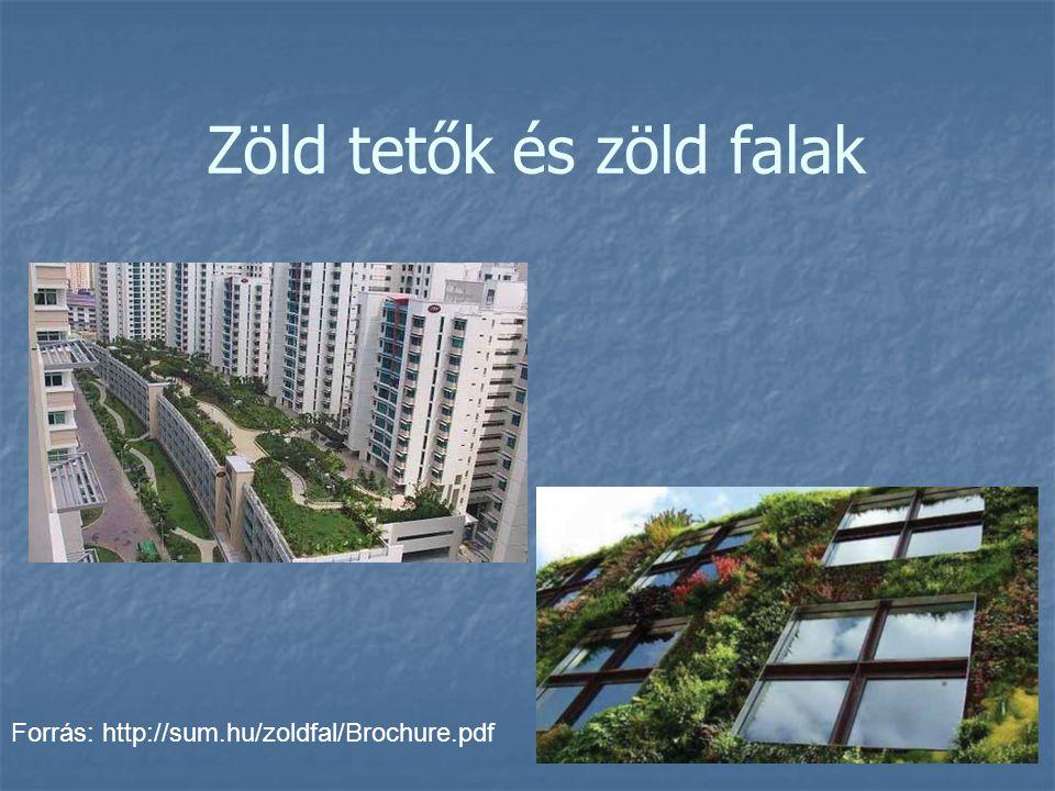 Zöld tetők és zöld falak Forrás: http://sum.hu/zoldfal/Brochure.pdf