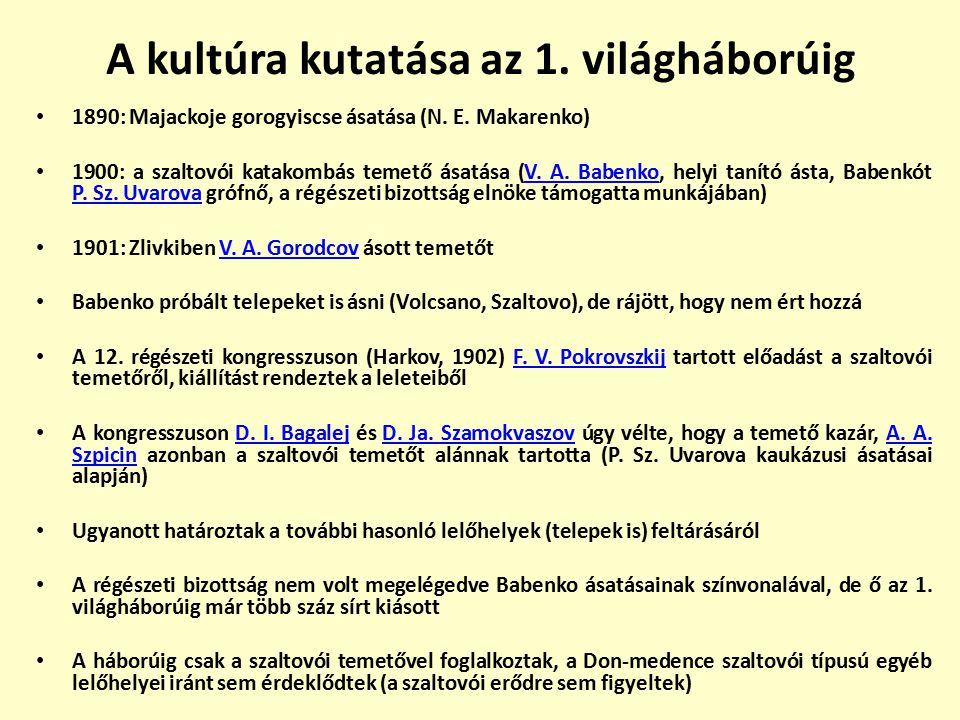 A kultúra kutatása az 1. világháborúig 1890: Majackoje gorogyiscse ásatása (N. E. Makarenko) 1900: a szaltovói katakombás temető ásatása (V. A. Babenk