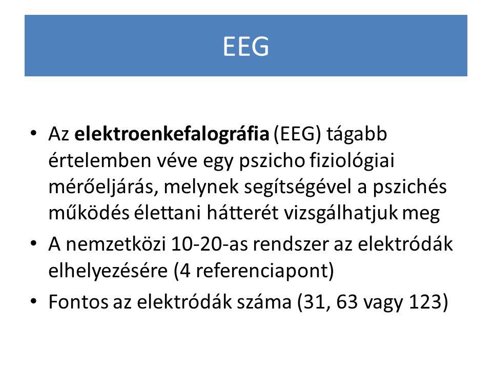 EEG Az elektroenkefalográfia (EEG) tágabb értelemben véve egy pszicho fiziológiai mérőeljárás, melynek segítségével a pszichés működés élettani hátter