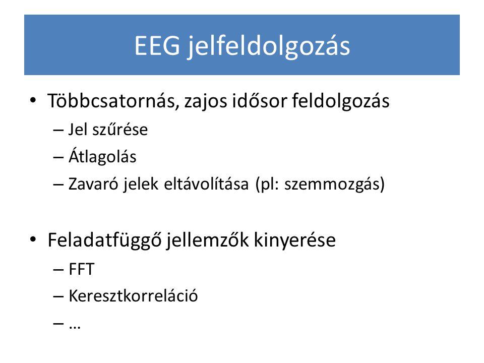 EEG jelfeldolgozás Többcsatornás, zajos idősor feldolgozás – Jel szűrése – Átlagolás – Zavaró jelek eltávolítása (pl: szemmozgás) Feladatfüggő jellemz