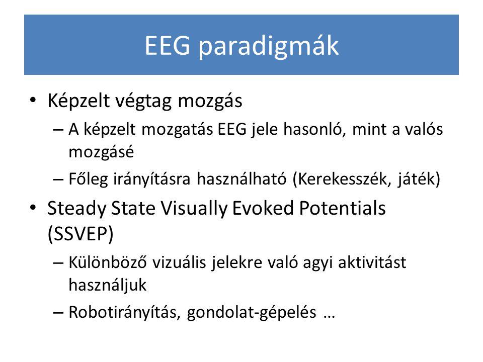 EEG paradigmák Képzelt végtag mozgás – A képzelt mozgatás EEG jele hasonló, mint a valós mozgásé – Főleg irányításra használható (Kerekesszék, játék)