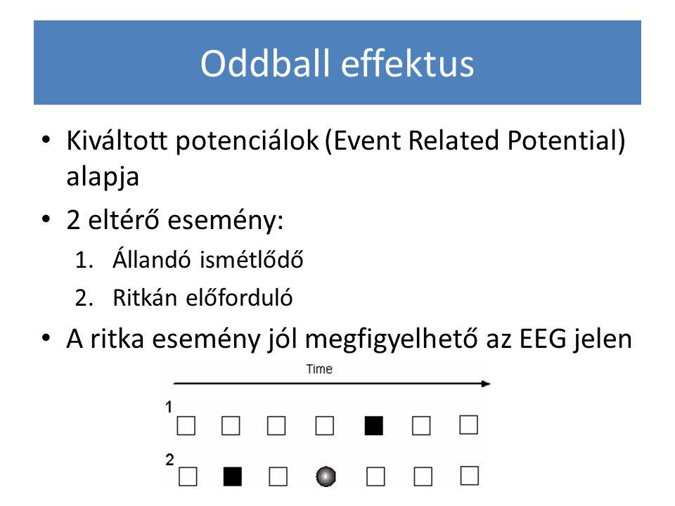 Oddball effektus Kiváltott potenciálok (Event Related Potential) alapja 2 eltérő esemény: 1.Állandó ismétlődő 2.Ritkán előforduló A ritka esemény jól