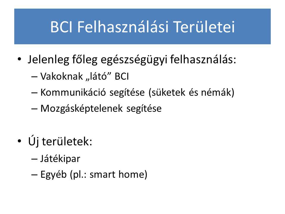 """BCI Felhasználási Területei Jelenleg főleg egészségügyi felhasználás: – Vakoknak """"látó"""" BCI – Kommunikáció segítése (süketek és némák) – Mozgásképtele"""