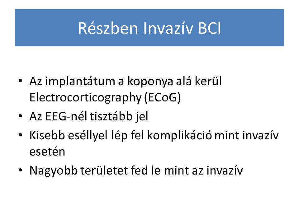 Részben Invazív BCI Az implantátum a koponya alá kerül Electrocorticography (ECoG) Az EEG-nél tisztább jel Kisebb eséllyel lép fel komplikáció mint in